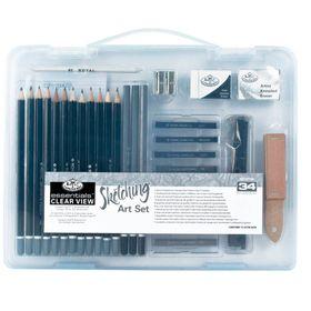 Mini-Maleta-Transparente-Desenho-II-Essencial-Clear-View-Sketching-Art-Set-com-34-Pecas-RSET-ART3105-1-