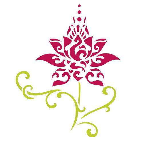 Stencil-de-Acetato-para-Pintura-15x20-Simples-Flor-de-lotus-Estilizada-Colorido-OPA2245