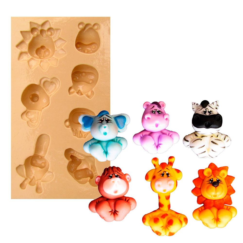 df68735bf Molde de Silicone para Biscuit Casa da Arte - Modelo  Kit Animais ...