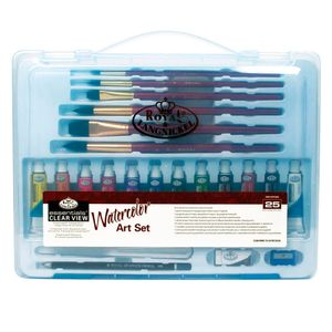 Mini-Maleta-Transparente-para-Aquarela-Essencial-Clear-ViewWatercolor-Art-Set-l-com-25-Pecas