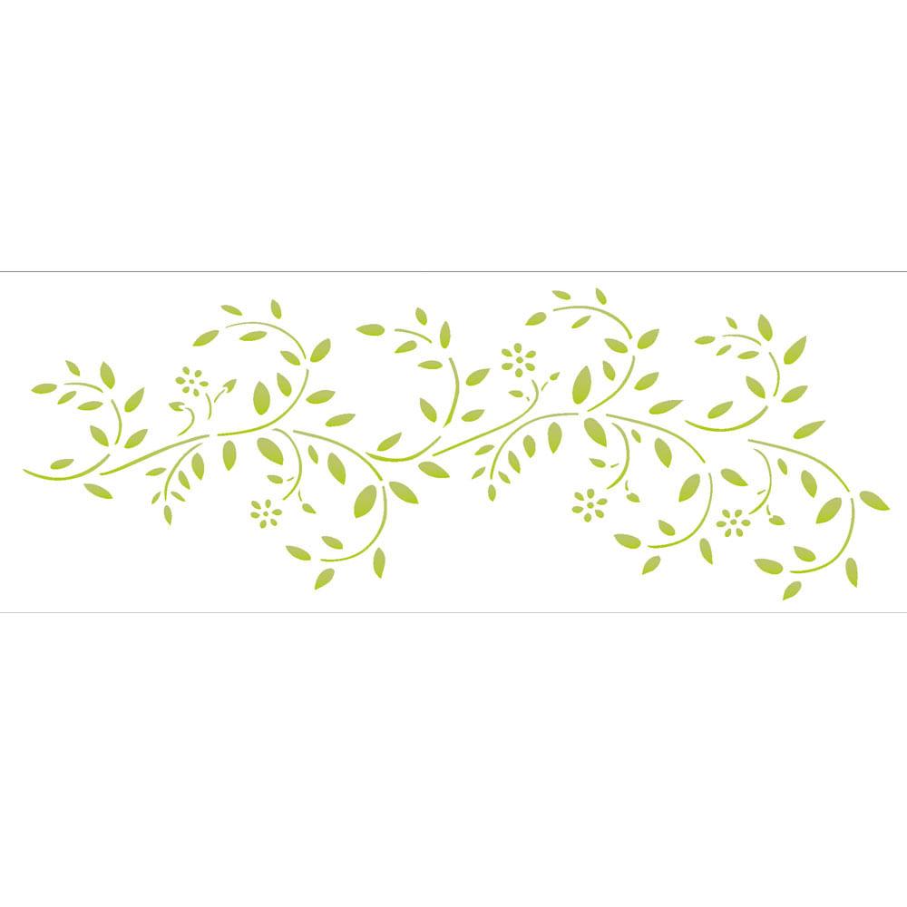 Stencil De Plástico Para Pintura Opa 10 X 30 Cm 1353 Galhos Com Flores
