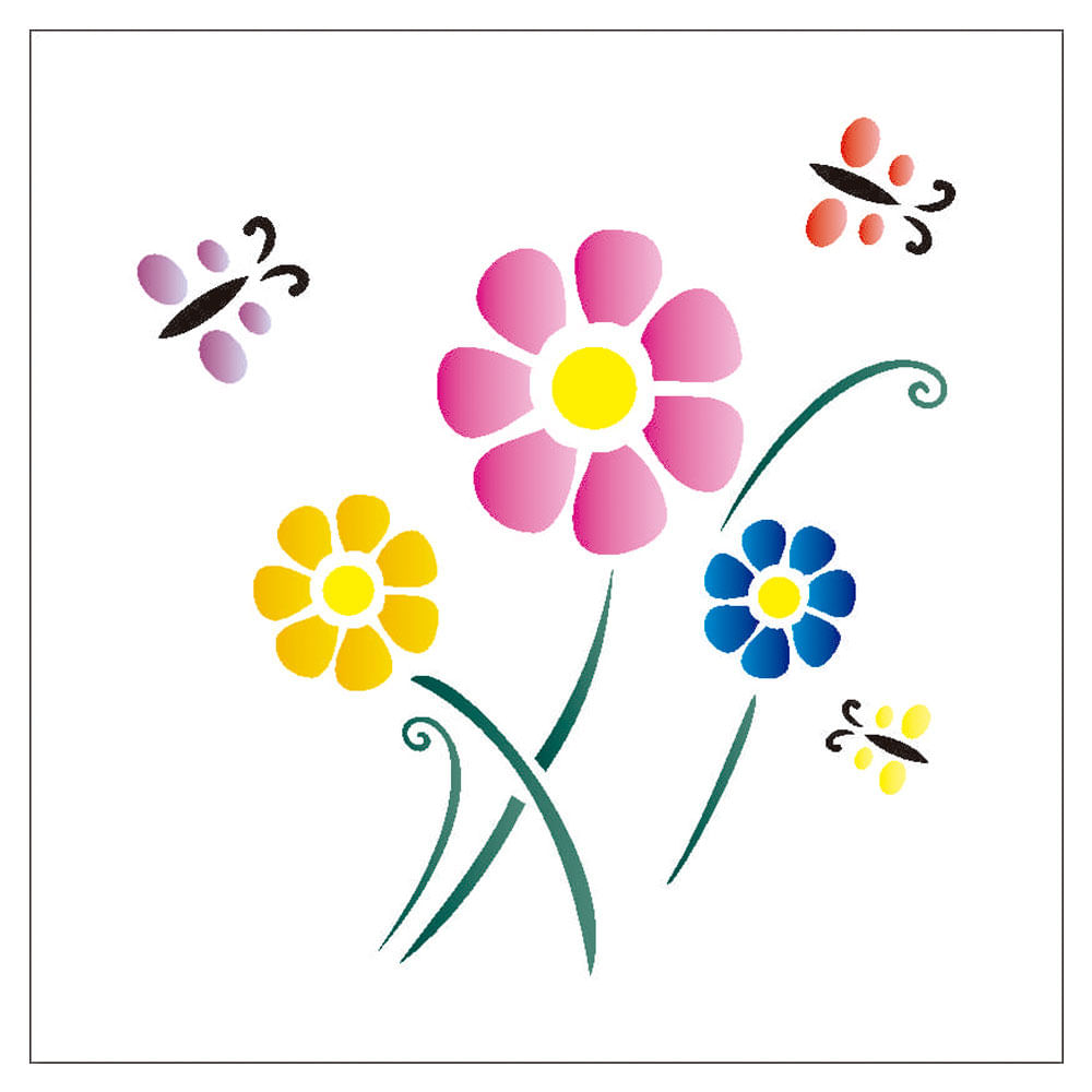 Stencil De Acetato Para Pintura Opa 14 X 14 Cm 1000 Flores Rosas I
