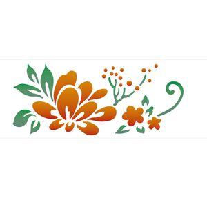 Stencil-de-Acetato-para-Pintura-10x30-Simples-Flor-Estilizada-II-Colorido-OPA2223