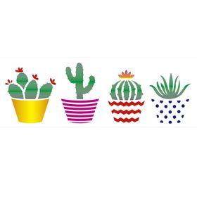 Stencil-de-Acetato-para-Pintura-10x30-Simples-Planta-Suculentas-Colorido-OPA2234