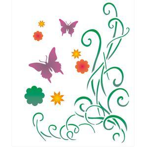 Stencil-de-Acetato-para-Pintura-20x25-Simples-Cantoneira-Borboletas-e-Arabescos-Colorido-OPA2261