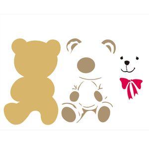 Stencil-de-Acetato-para-Pintura-32x42-Simples-Infantil-Urso-Pelucia-Colorido-OPA2306