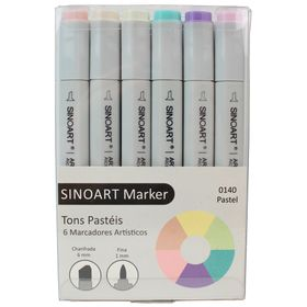 Marcador-Artistico-Profissional-Marker-Sinoart-–-0140---06-Cores-–-Tons-Pasteis-1