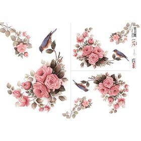 OPAPEL-30X45---Flor-Rosas-e-Passaro---2484---7898507338145