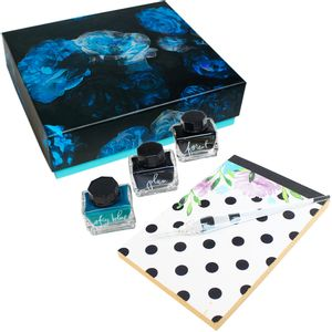 Kit-Caligrafia-Bloco-Tintas-e-pena-SFS061-cocean-blue-oficial