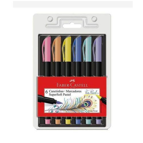 Caneta-Brush-Pen-Pastel-Supersoft-Faber-Castell---Estojo-6-Unidades