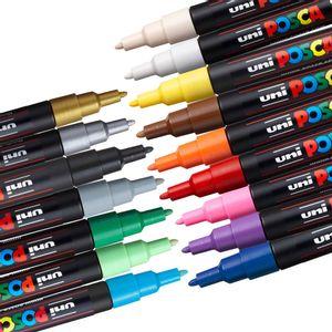 Kit-de-Canetas-Posca-Uni-Ball-PC-3M-Ponta-Conica-Poliester-0-9---1-3-mm-Sortidas-com-16-Unidades---1