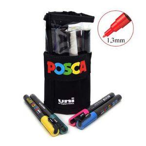 Kit-de-Canetas-Posca-Uni-Ball-PC-3M-Ponta-Conica-Poliester-Rollerset-13-mm-Sortidas-com-12-Unidades