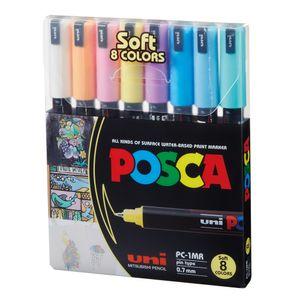 Kit-de-Canetas-Posca-Soft-Uni-Ball-PC-1MR-Ponta-Extra-Fina-07-mm-Sortidas-com-8-Unidades---1
