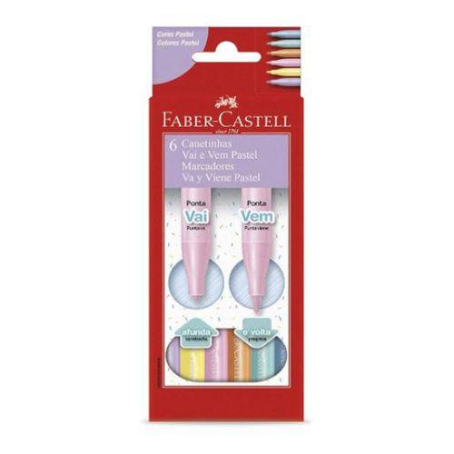 Canetinha-Vai-e-Vem-Pastel-Faber-Castell-Marcadores-Va-y-Viene-Pastel-6-Cores-–-15-0906W2F