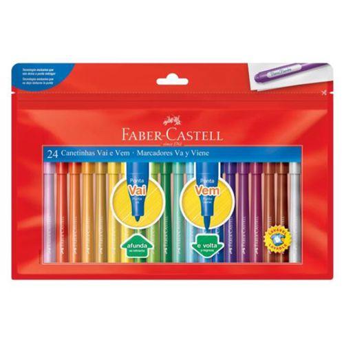 Canetinha-Hidrografica-Vai-e-Vem-Faber-Castell-Marcadores-Va-y-Viene-24-Cores–-15.0124VVZF