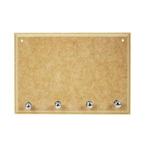 Porta-Chaves-Retangular-com-4-Pinos-de-MDF-Madeira-Crua-Tamanho-20x14x05cm