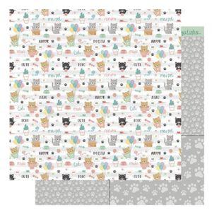 Pagina-para-Scrapbook-Dupla-Face-Litoarte-305-x-305-cm-Modelo-SD-1173-Amo-meu-Pet-Cat
