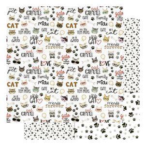 Pagina-para-Scrapbook-Dupla-Face-Litoarte-305-x-305-cm-Modelo-SD-1175-Amo-meu-Pet-Cat