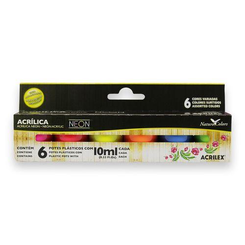 Kit-tinta-Acrilica-Neon-Nature-Colors-Acrilex-10ml-Com-6Unidades