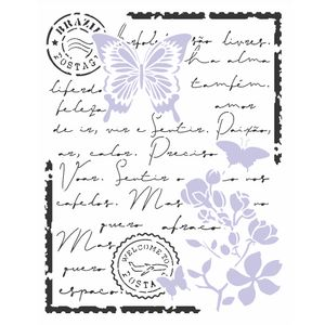 Stencil-3140-20x25-carta-antiga-borboleta